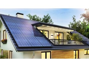 two story home with solar panels slider
