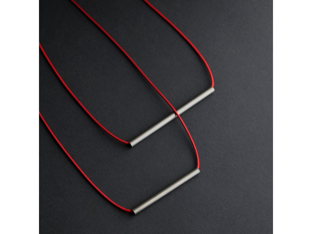 steel / necklace / red