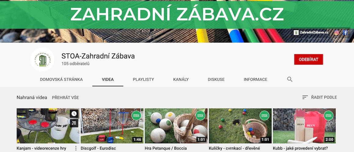 Youtube kanál STOA-Zahradní Zábava