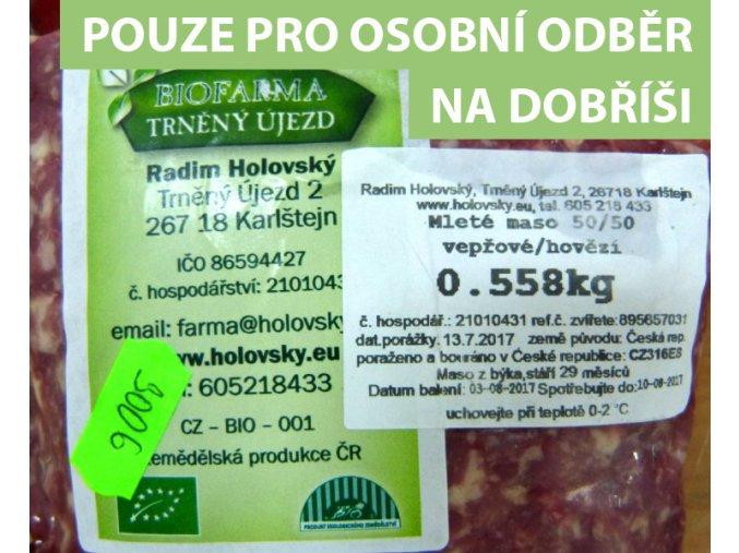 Mleté maso BIO mix 50%hovězí 50% vepřové Trněný Újezd