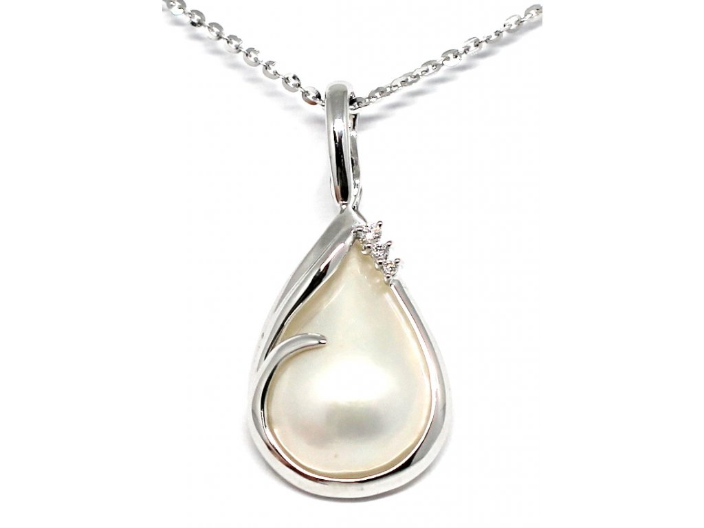 Luxusní přívěsek s MABE perlou a brilianty