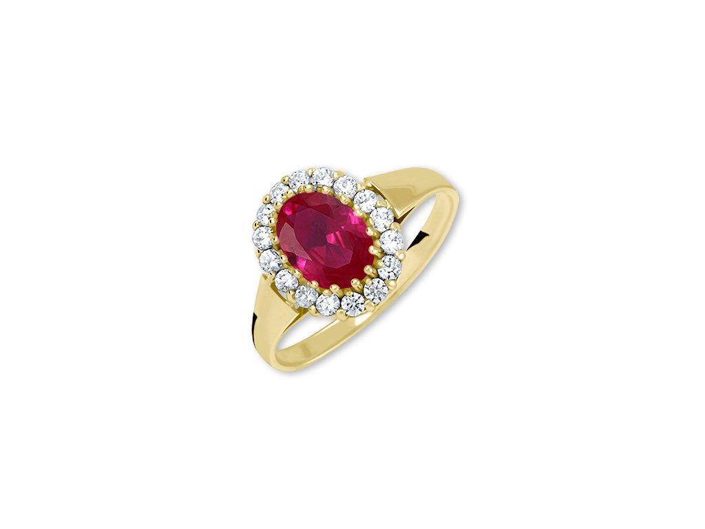 Zlatý prsten s rubínem a zirkony Ria