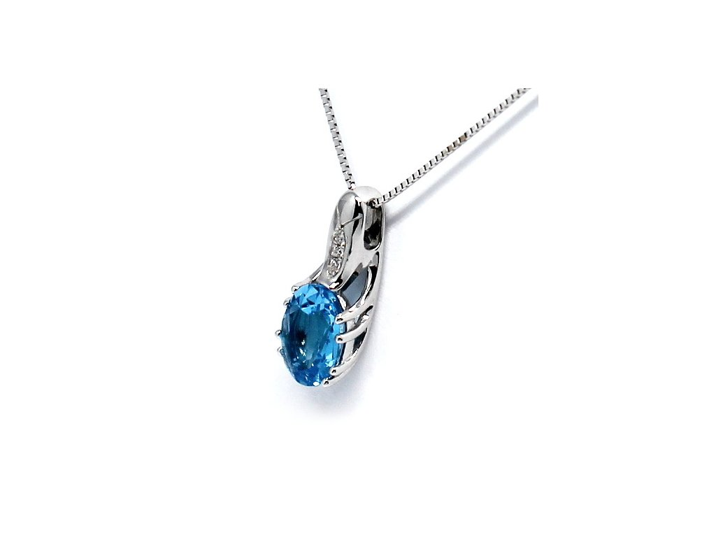 Diamantový přívěsek bílé zlato blue topaz Laguna