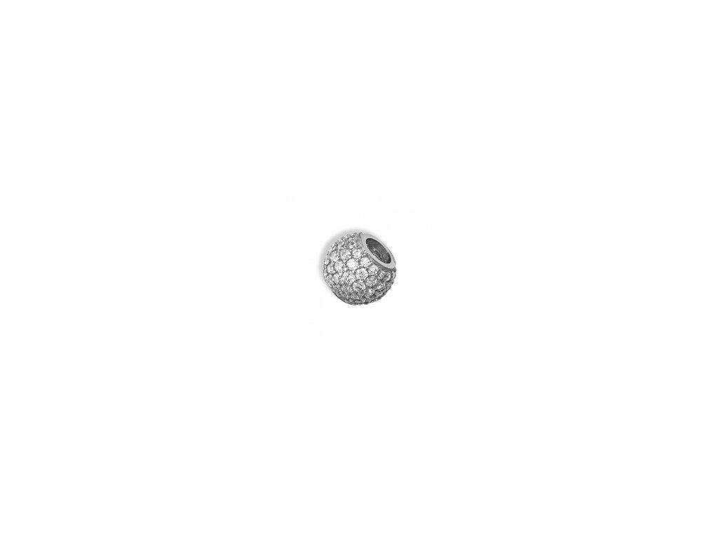 Kulička z bílého zlata provlékací se zirkony