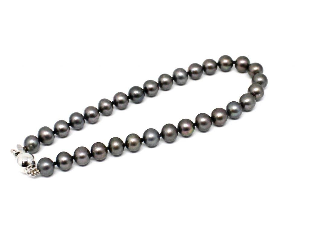 Perlový náramek sladkovodní černé perly 18cm