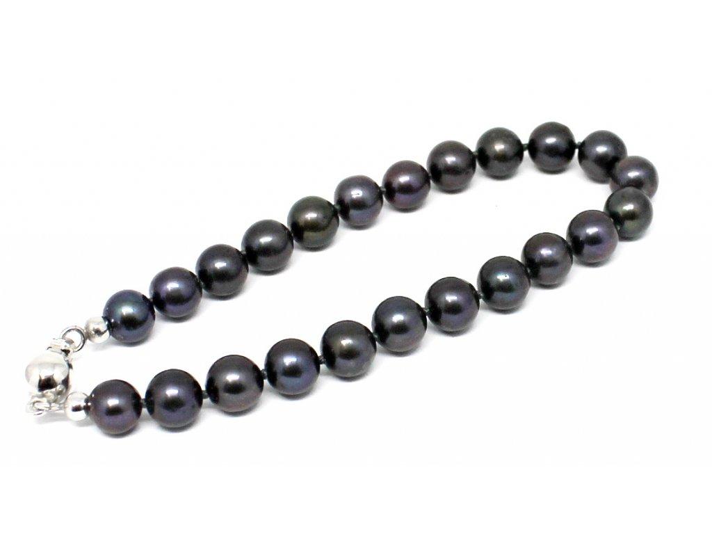 Perlový náramek sladkovodní černé perly 17cm