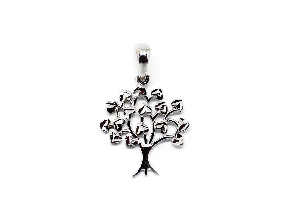 Zlatý přívěsek strom života bílé zlato plastický