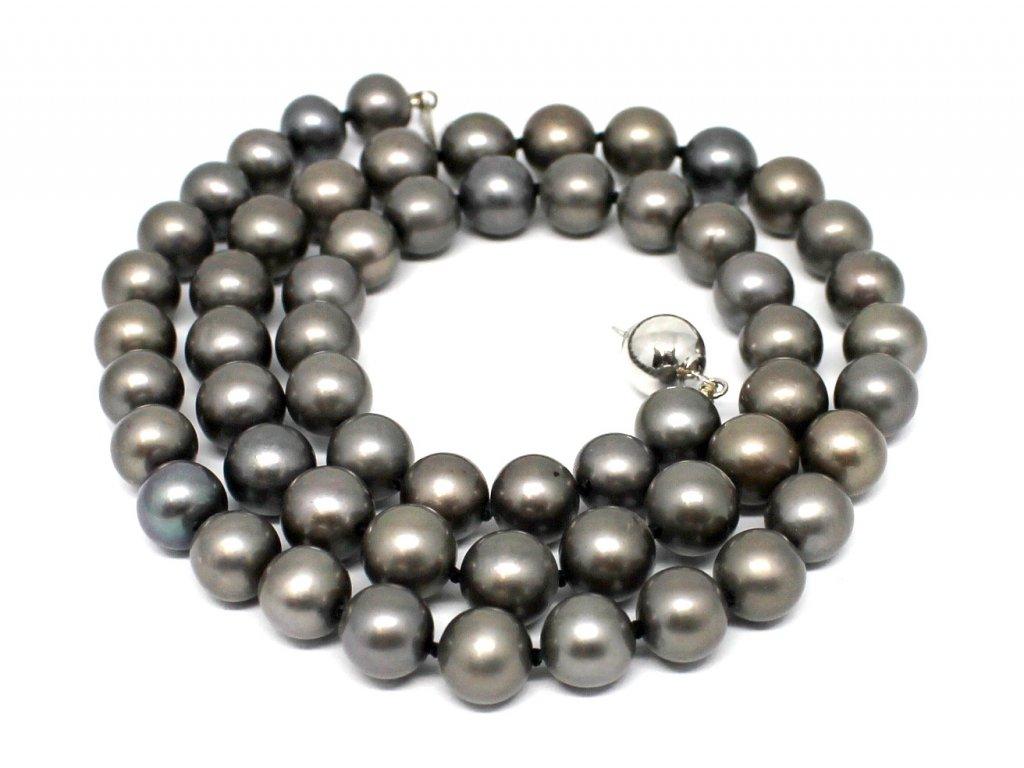 Perlový náhrdelník černé sladkovodní perly 50cm