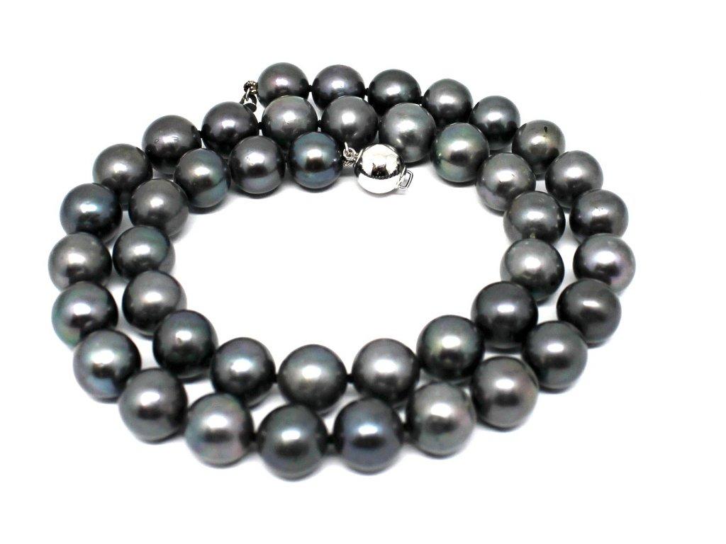 Perlový náhrdelník černé sladkovodní perly 42cm