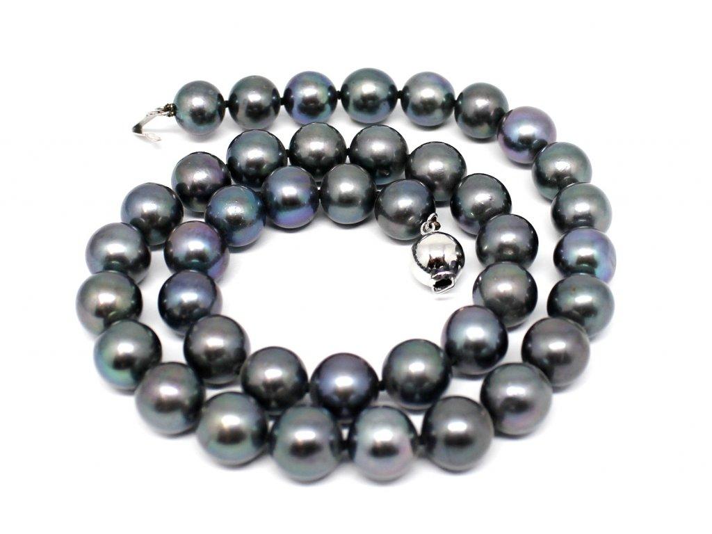 Perlový náhrdelník černé sladkovodní perly 40cm