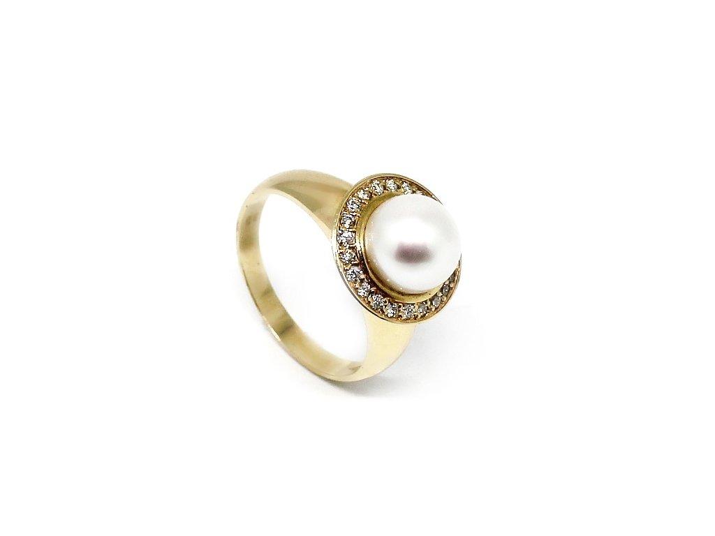 Zlatý prsten s perlou a diamanty Niké