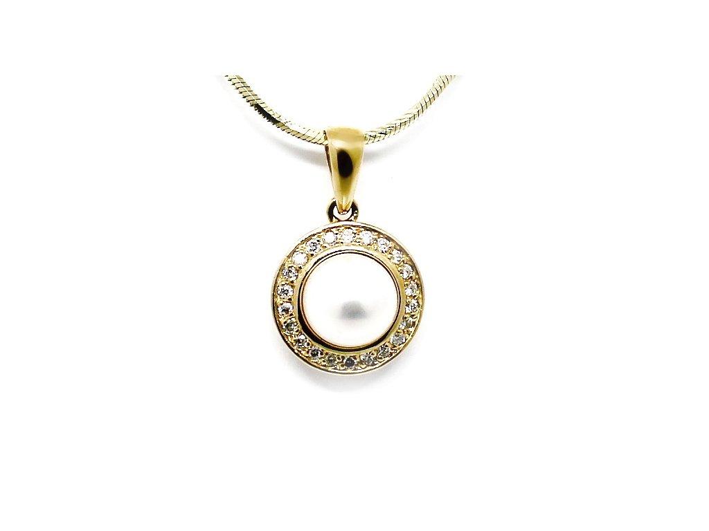 Zlatý přívěs s perlou a diamanty