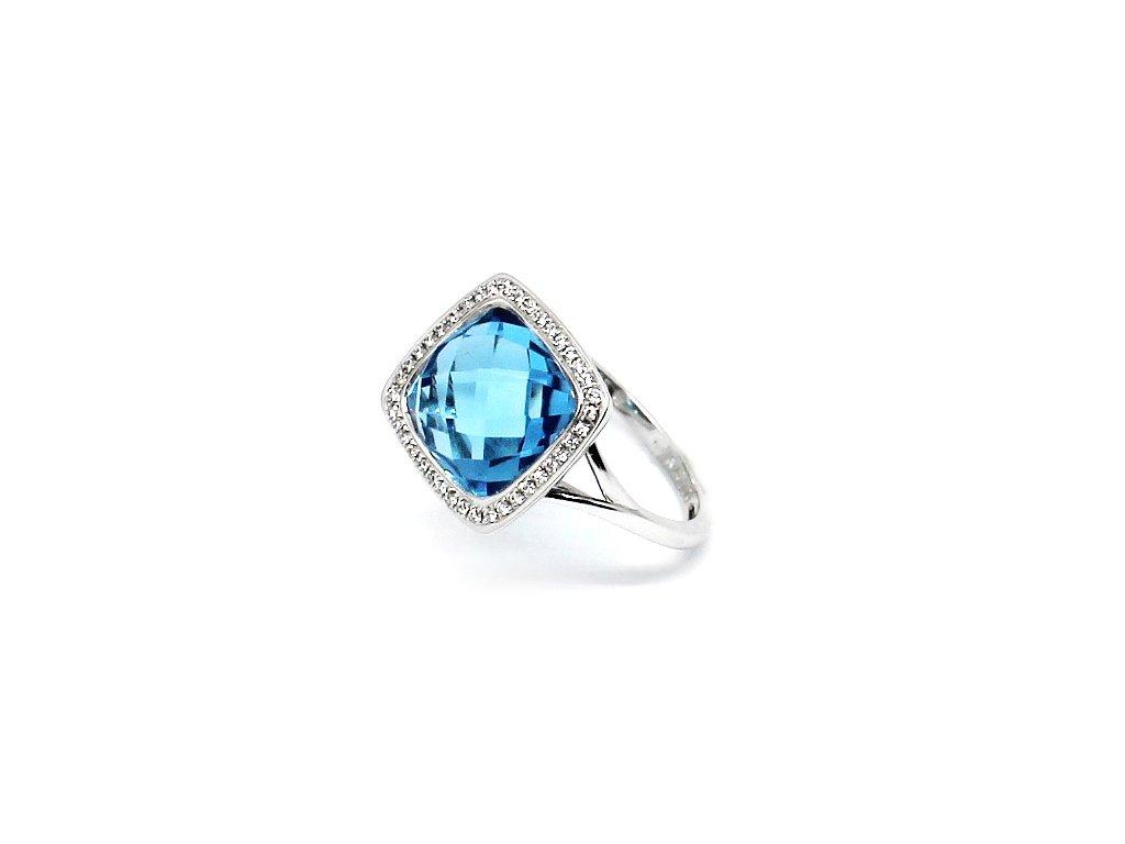 Luxusní diamantový prsten s blue topazem bílé zlato