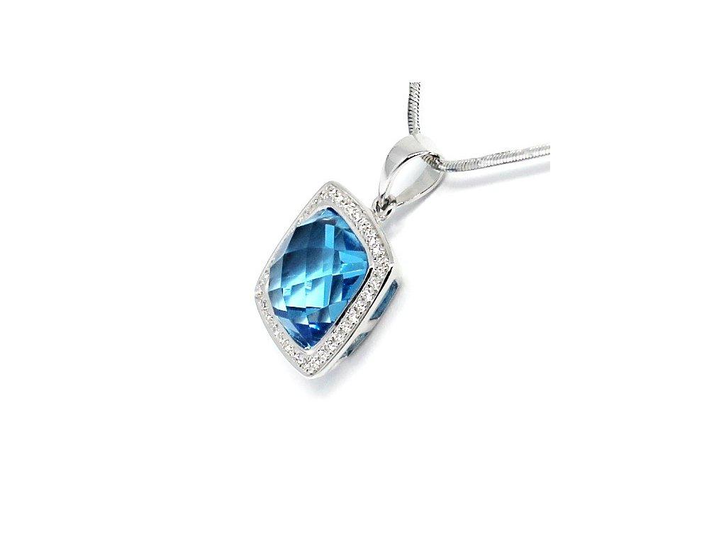 Luxusní diamantový přívěsek s blue topazem bílé zlato