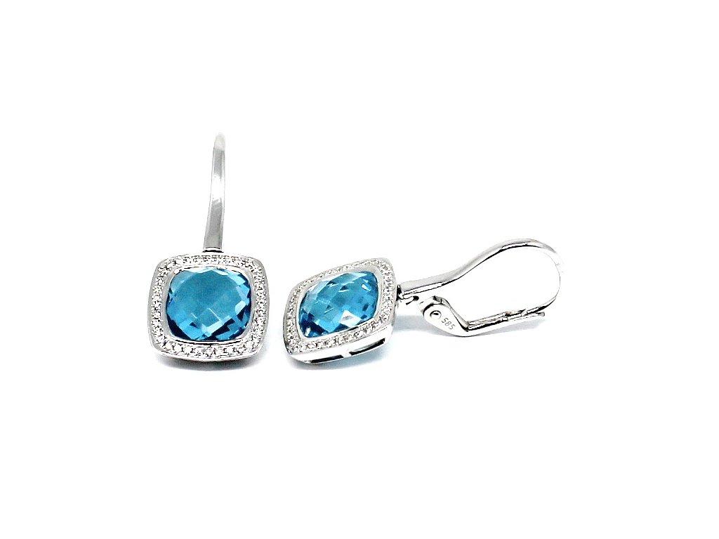 8c2130bb8 Luxusní diamantové náušnice s blue topazem bílé zlato
