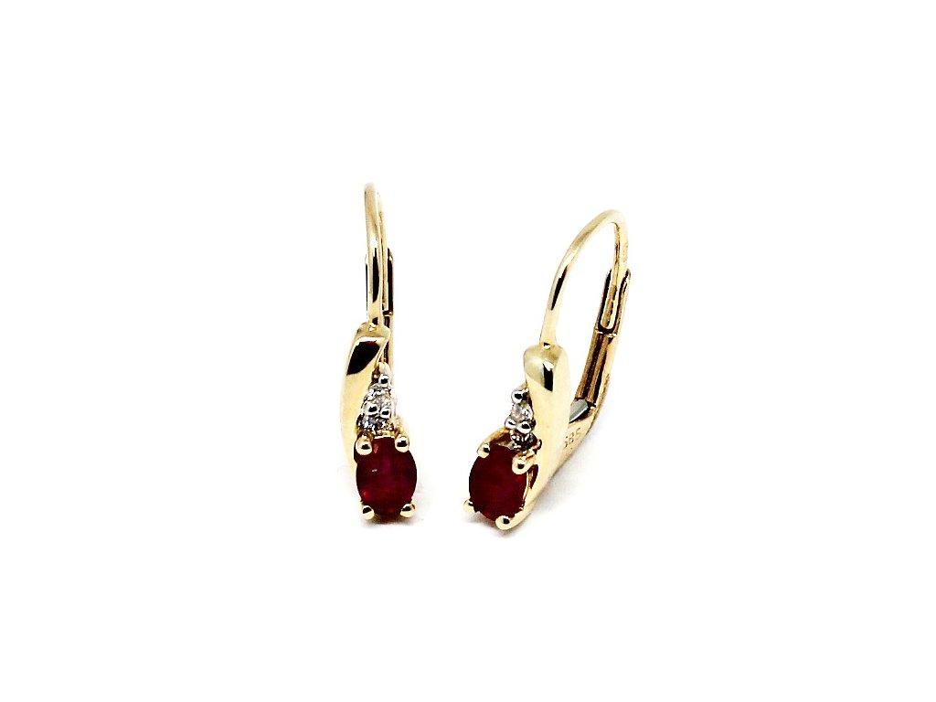 Diamantové náušnice s rubínem Eva