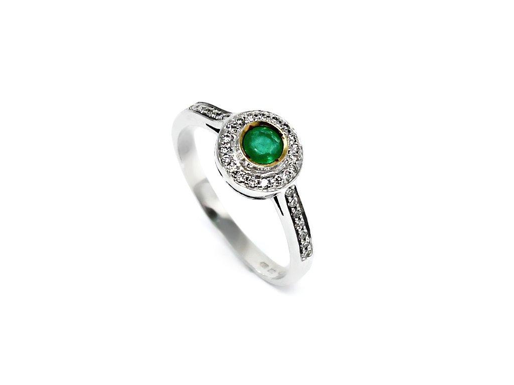 Prsten se smaragdem a diamanty 0,17ct Tesa