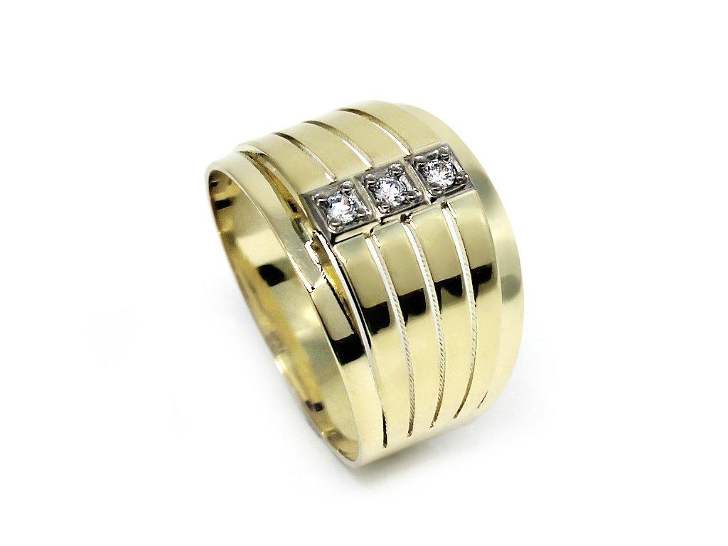 Zlatý prsten se zirkony široký Lea