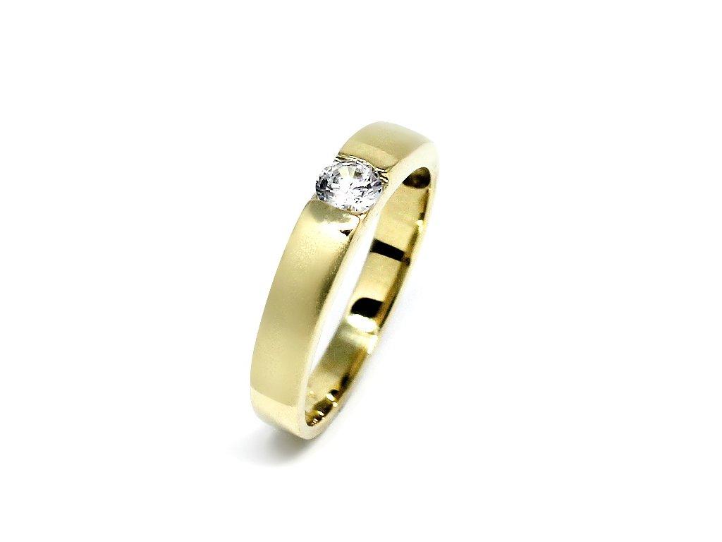 Zlatý prsten se zirkonem matný Sára