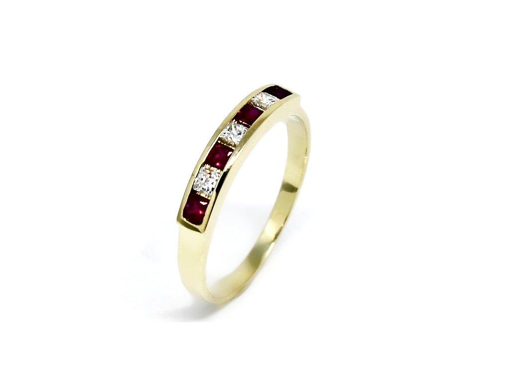 Zlatý prsten s rubíny a zirkony Ema