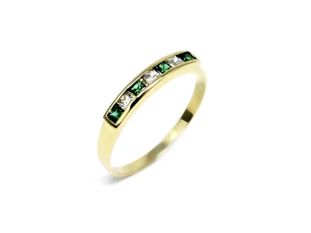 Zlatý prsten se zelenými a bílými zirkony Ema