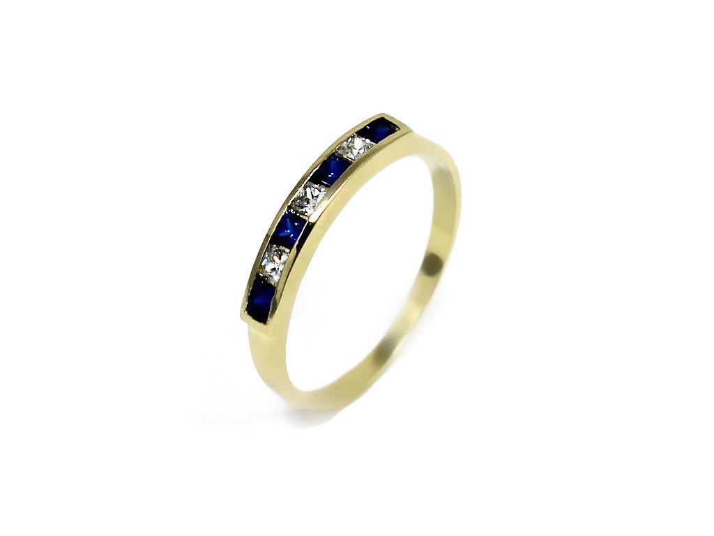 Zlatý prsten se safírem a bílými zirkony Nela