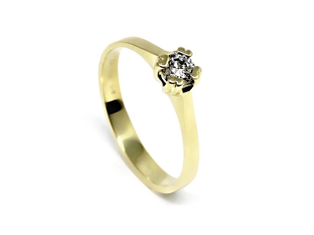 Zlatý prsten se zirkonem Love