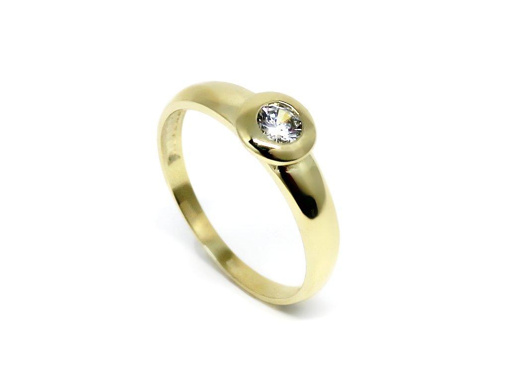 Zlatý prsten se zirkonem kulatý Lucie