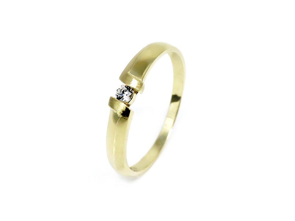 1cc3c06cf Zlatý prsten se zirkonem matný Anna