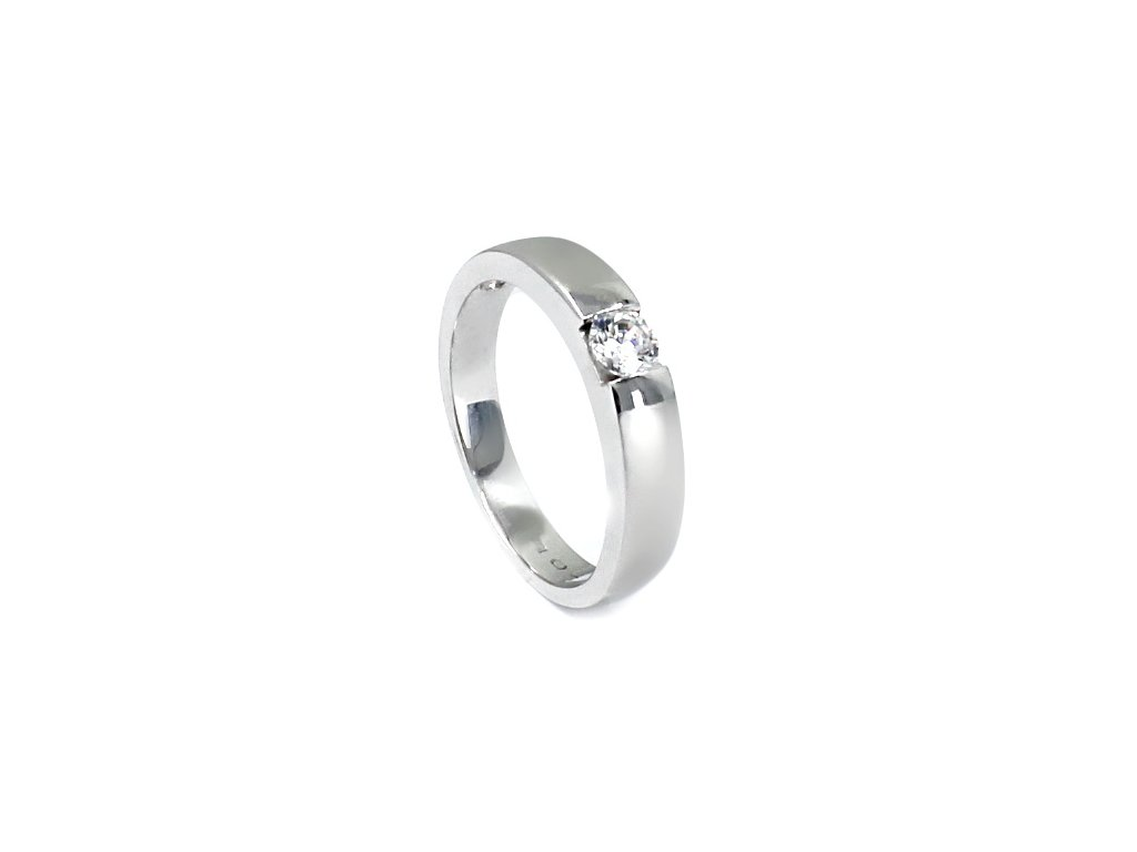 Zlatý prsten z bílého zlata se zirkonem matný Iris