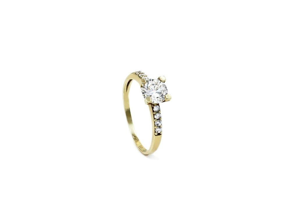 Zlatý prsten se zirkony kostka Star