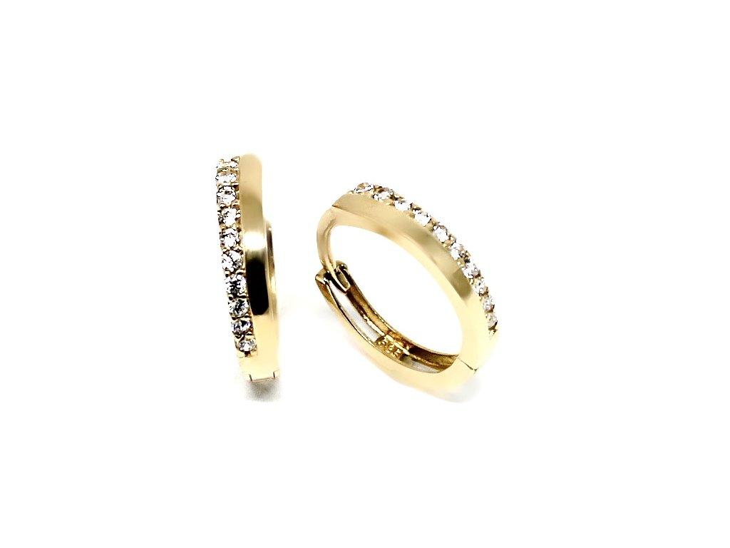 Zlaté náušnice kruhy se zirkony jemné 10mm