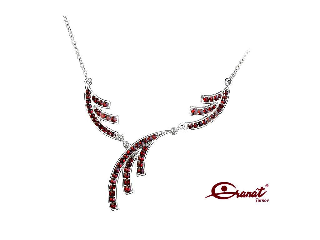 Český Granát stříbrný náhrdelník 6770849