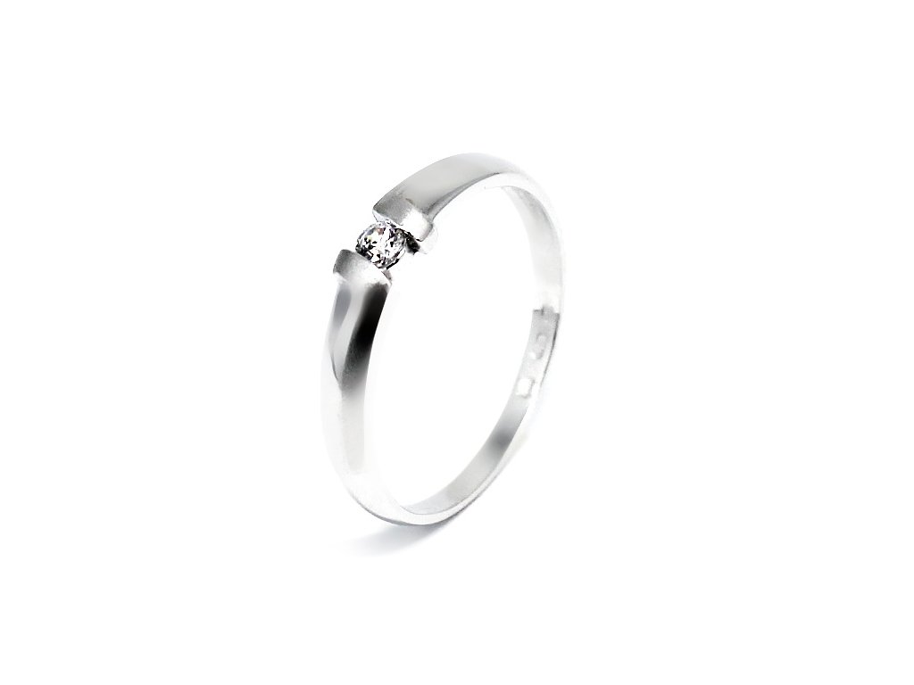 Zlatý prsten z bílého zlata se zirkonem matný Eva