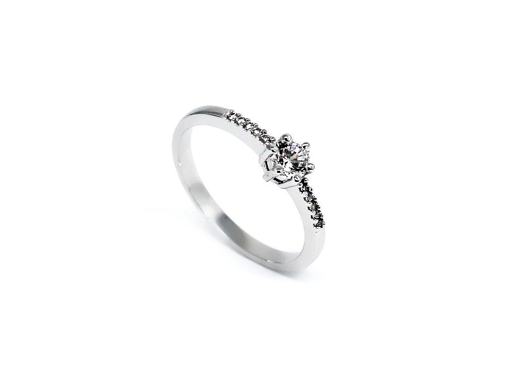 Zlatý prsten z bílého zlata se zirkony Ina