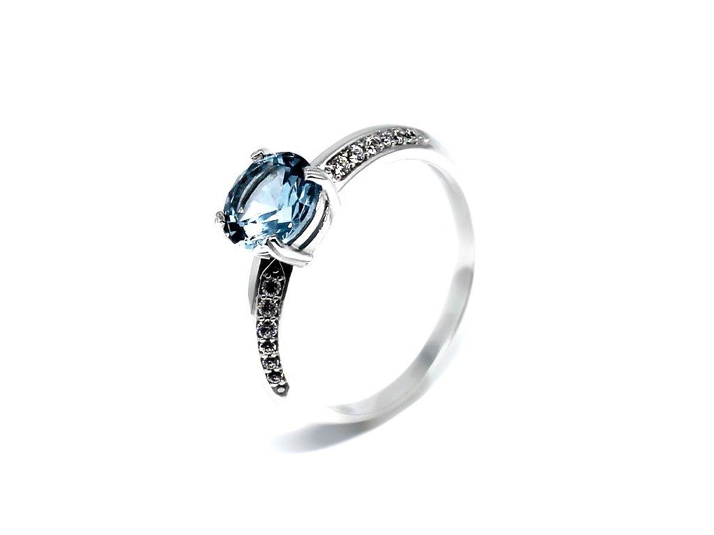 Zlatý prsten z bílého zlata a blue topazem Ema