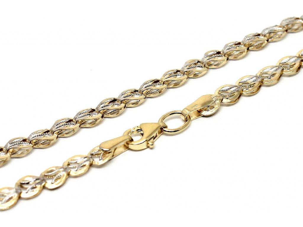 Zlatý řetízek skládaný dvojbarevný 45/50cm