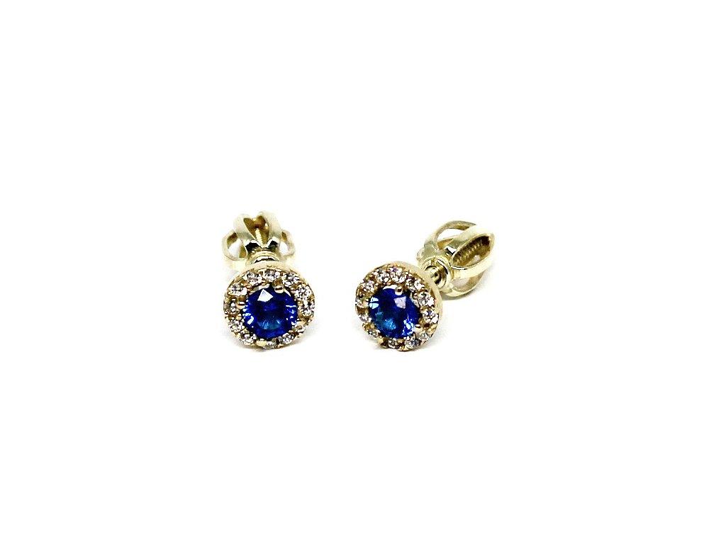 Zlaté náušnice s modrým zirkonem na šroubek