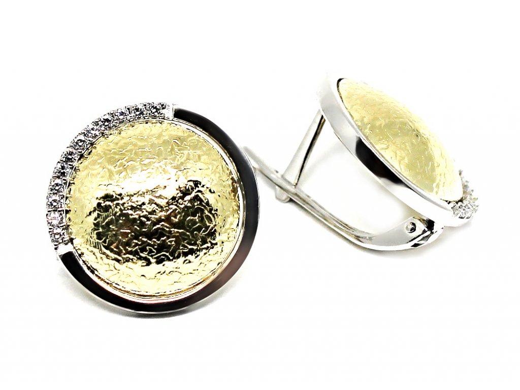 Luxusní náušnice z bílého a žlutého zlata Kleopatra