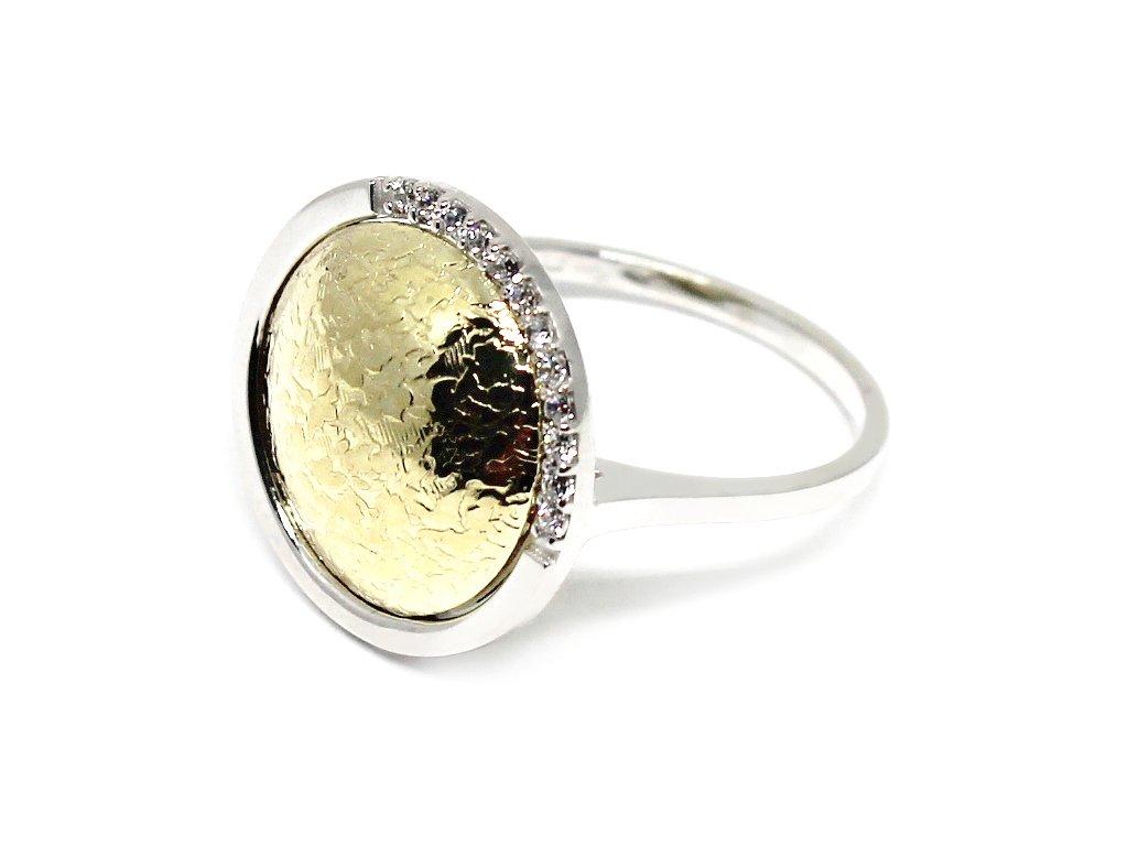 Luxusní prsten z bílého a žlutého zlata Kleopatra