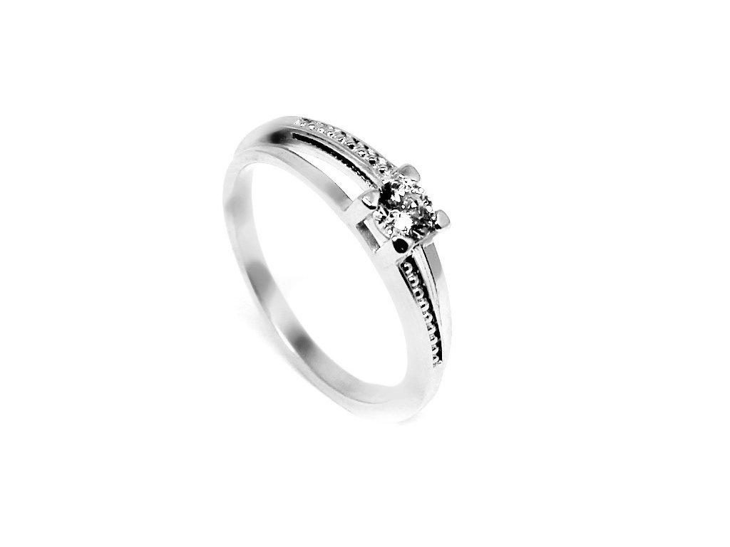 Zlatý prsten z bílého zlata se zirkony Nela