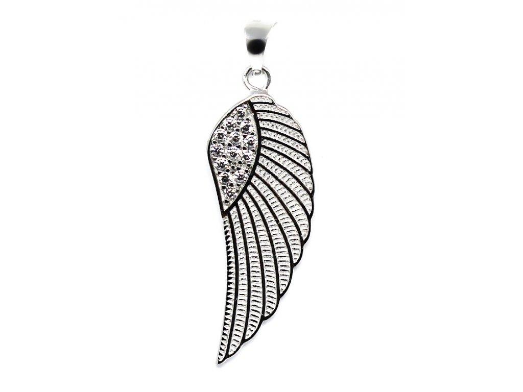 Zlatý přívěsek z bílého zlata andělské křídlo