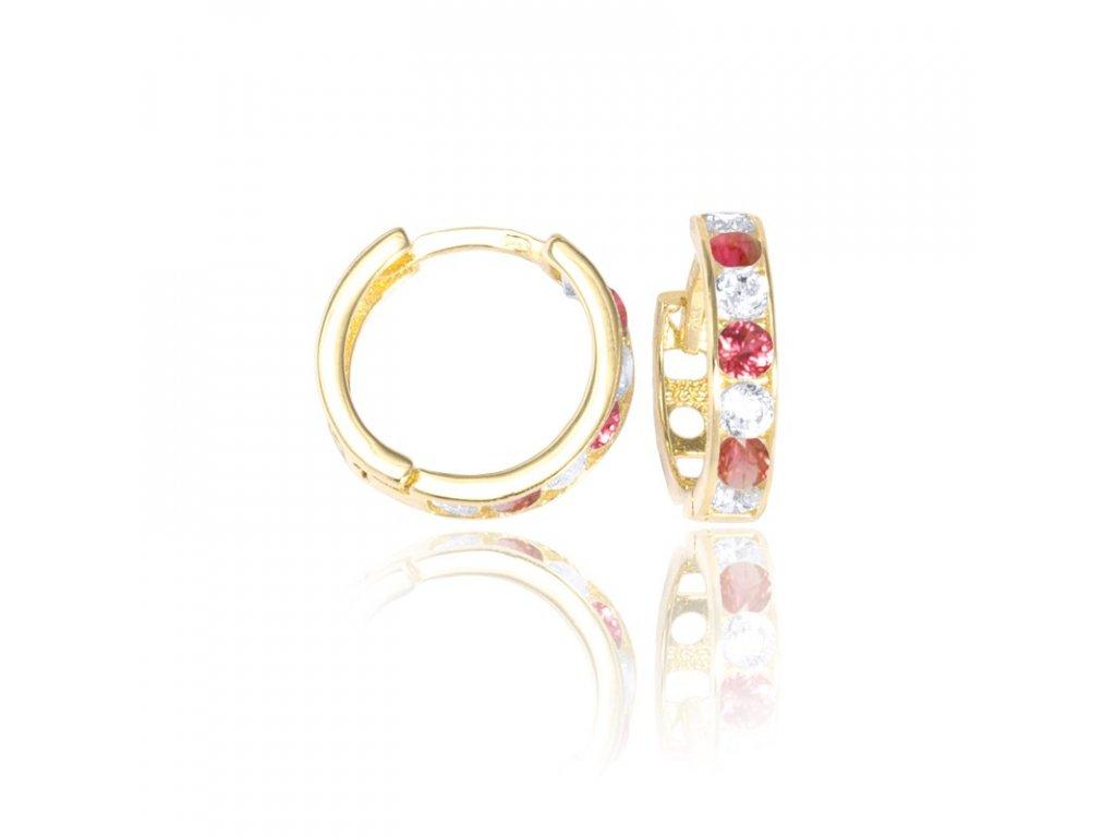 Zlaté náušnice kruhy s rubínem a zirkony 12/10mm