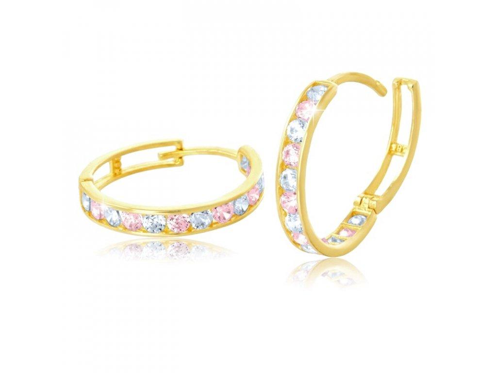 Zlaté náušnice kruhy s růžovým zirkonem 18mm