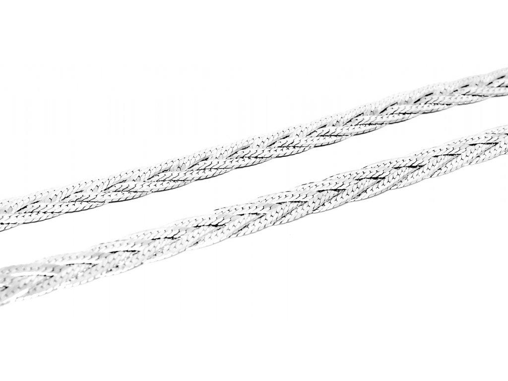 Stříbrný pletený plochý řetízek 45cm