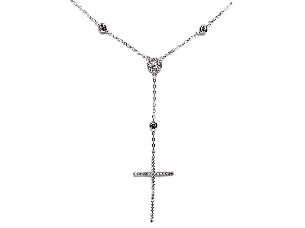 Stříbrný řetízek s křížkem a zirkony