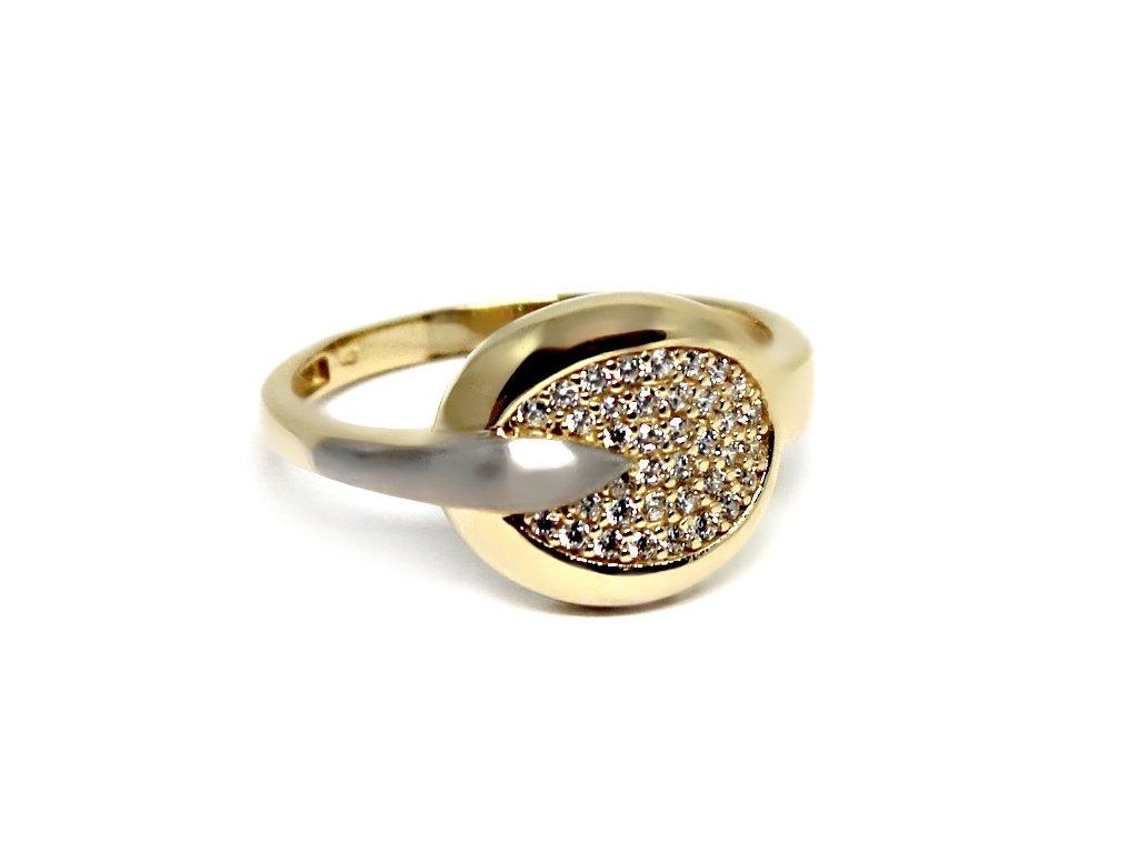 Zlatý prsten s bílými zirkony Venuše