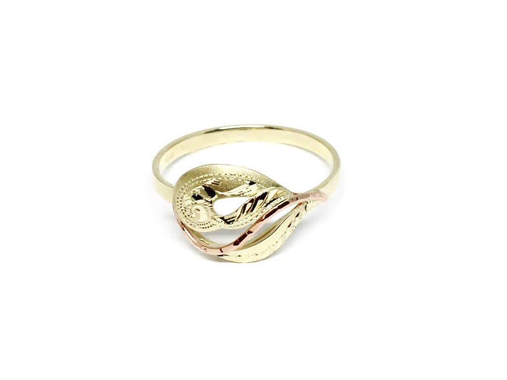 Zlatý prsten dvojbarevný ručně rytý Jana