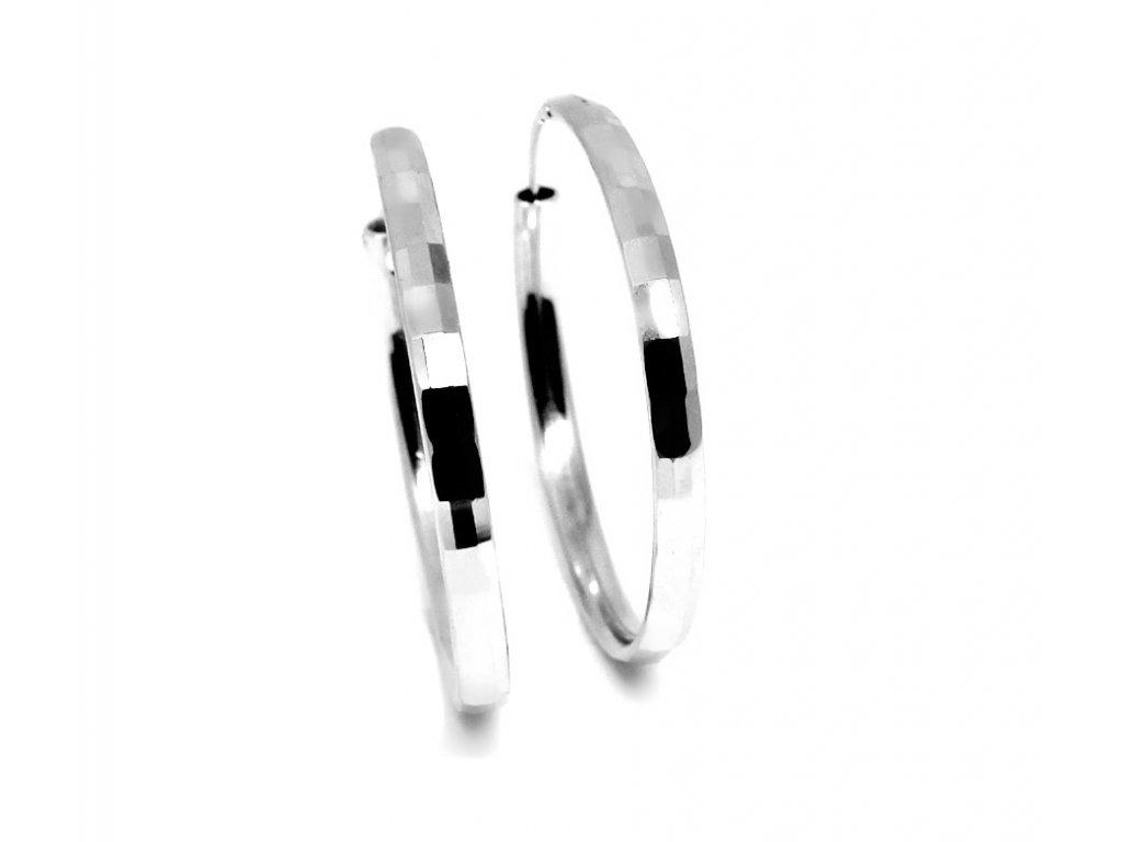 Stříbrné náušnice kruhy 35mm