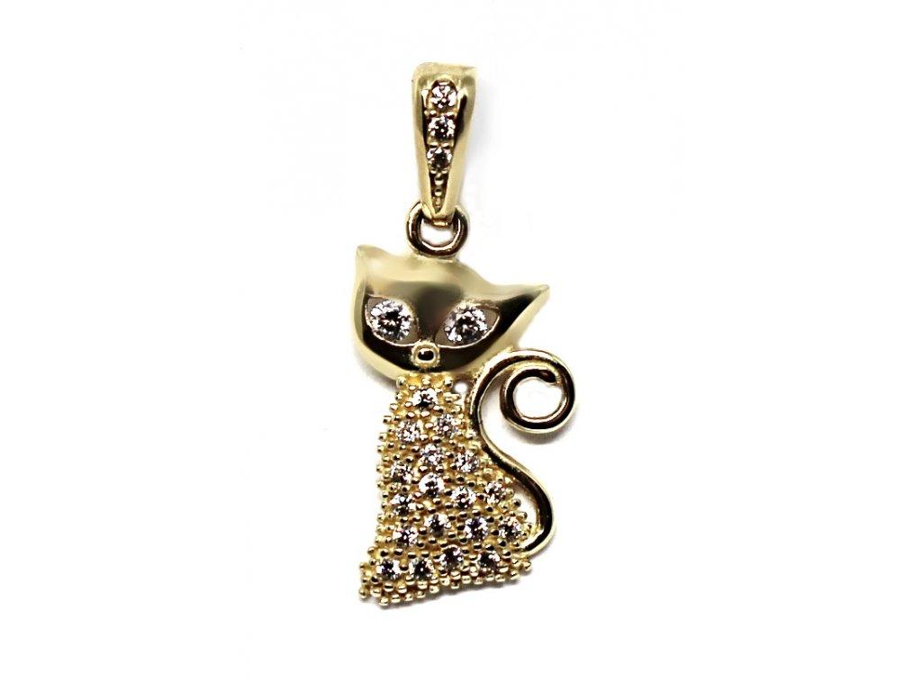 Zlatý přívěsek kočka se zirkony 24mm
